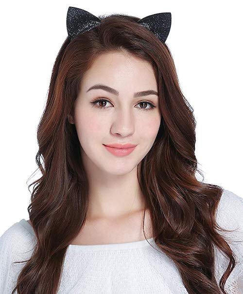 woman wearing cat ears