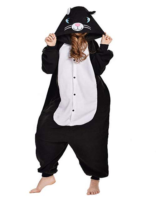 woman wearing cat onesie