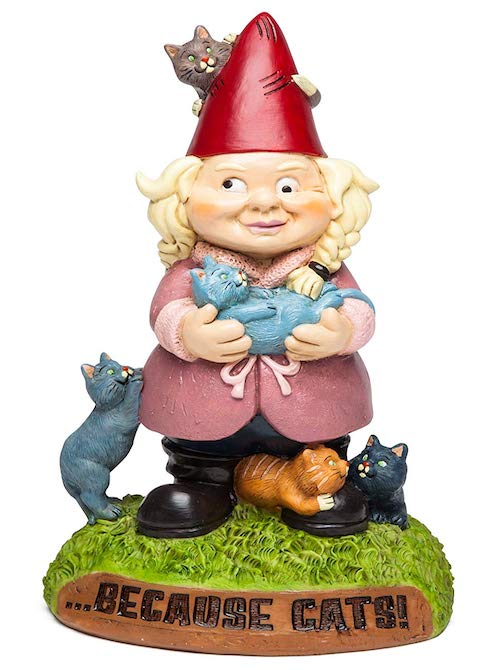 cat lady lawn gnome
