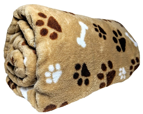 Just Home Paw Print Themed Lightweight Blanket